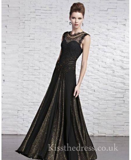 Fashion Black/Gold Round Neck Long Prom Dress For Mother CYH81585 ...