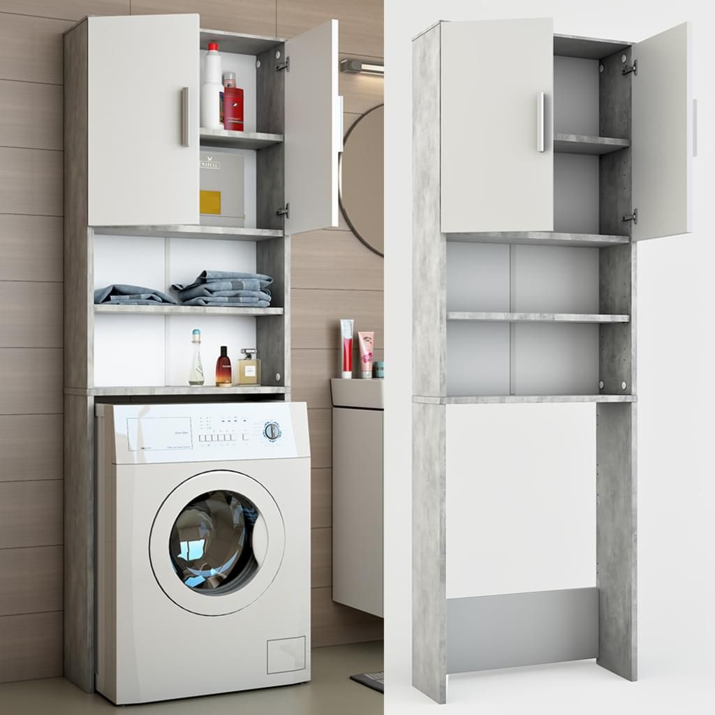 Icco Waschmaschinenschrank Grau Beton 190 X 64 Cm Badregal