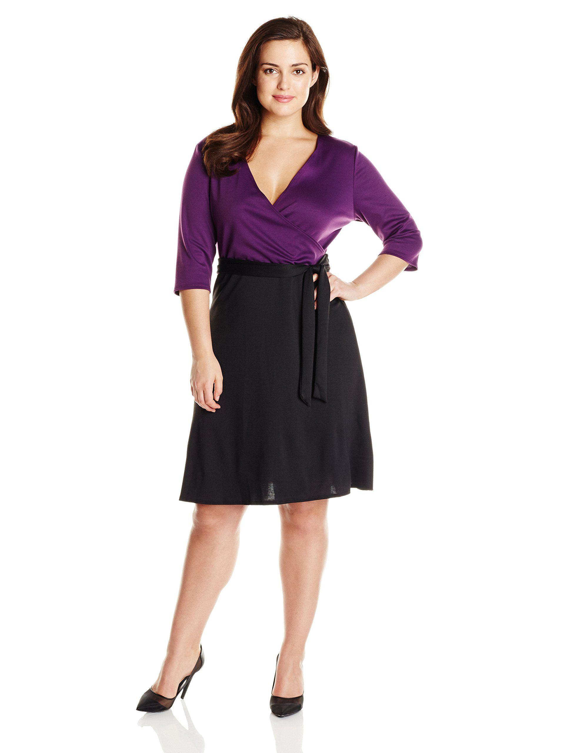 65f3d6b995e Star Vixen Women s Plus-Size Faux-Wrap Dress Black Skirt at Amazon Women s  Clothing store