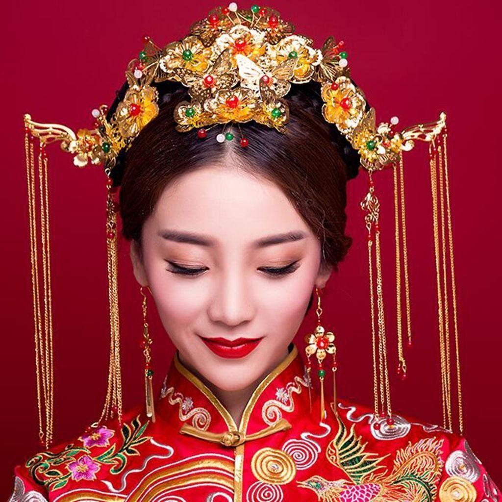 Disfraz Novia Fung Chai Tocado Estilo chino Boda Adornos para el ...