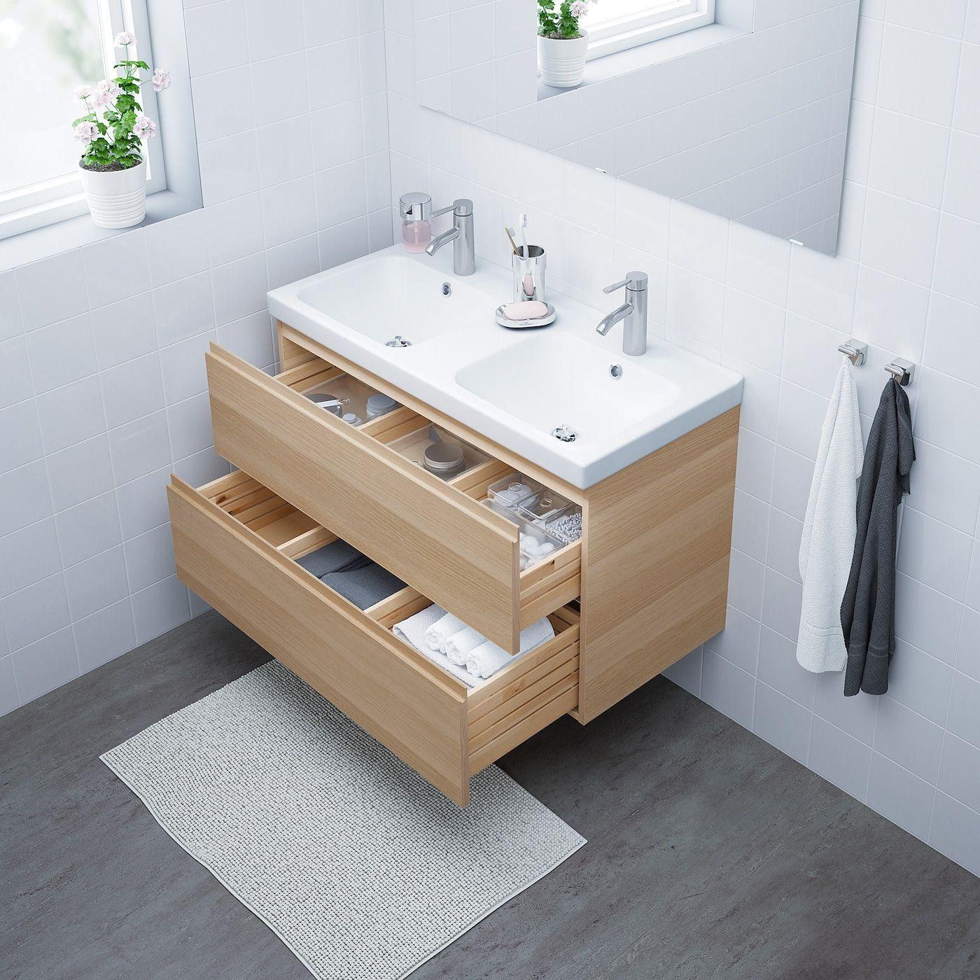 Godmorgon Odensvik Sink Cabinet With 2 Drawers White Stained Oak Effect Dalskar Faucet 40 1 2x19 1 4x2 In 2020 Bathroom Vanity Ikea Godmorgon Diy Bathroom Storage