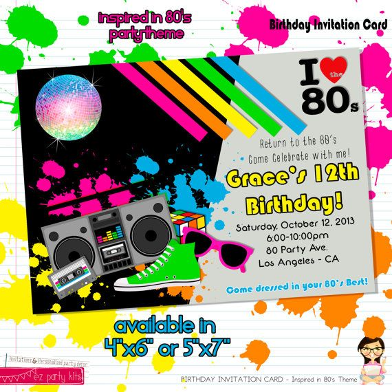 Birthday Invitation Card 80s Party Theme Unisex by EZPARTYKITS