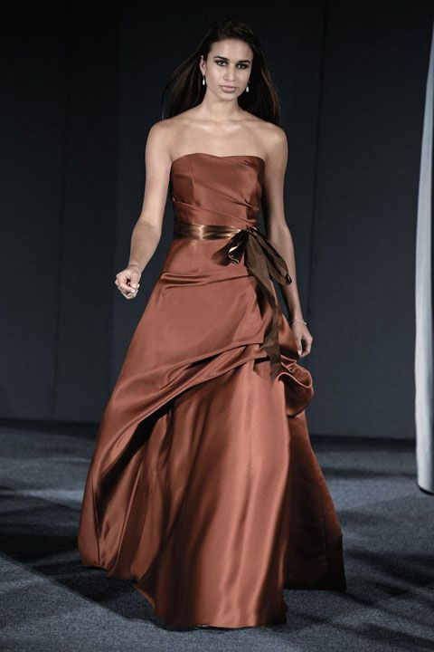Fashionable A-line natural waist satin dress for bridesmaid