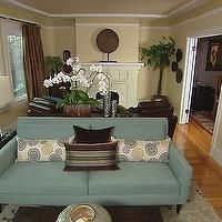 HGTV   Living Rooms   Long Living Room, Long Living Room Ideas, Teal Sofa Part 74