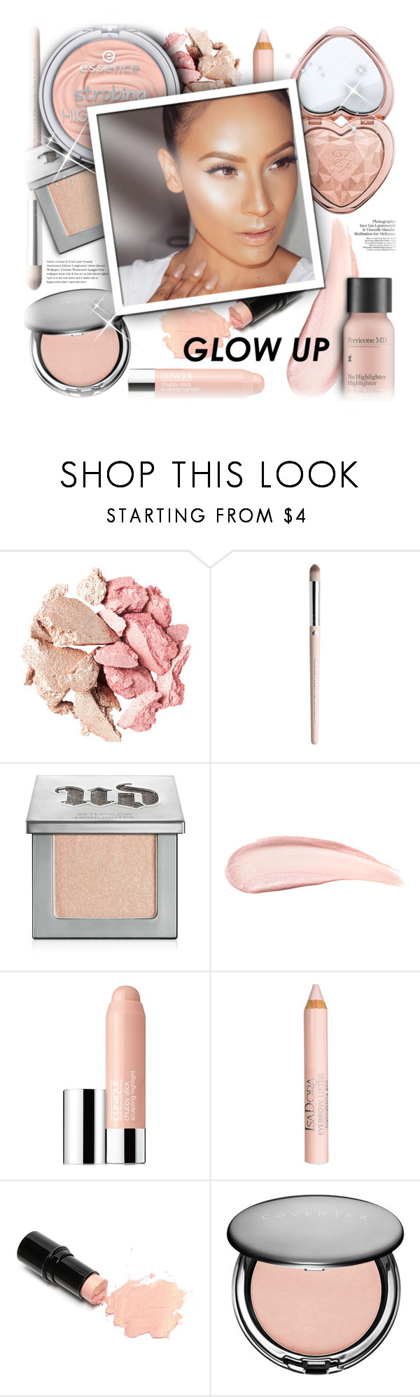 """#838 - Glow Up: Glam Highlighters"" by lilmissmegan ❤ liked on Polyvore featuring beauty, Urban Decay, Clinique, Isadora, Cover FX, Perricone MD, BeautyTrend, Beauty, highlighter and makeupgoals"