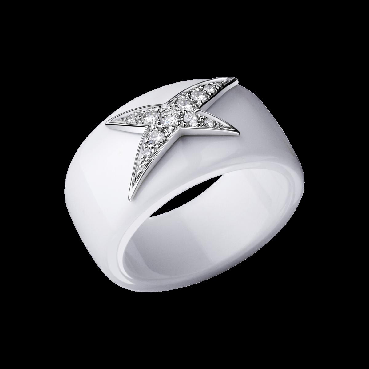 """Bague """"'Etoile de l'Ange"""", céramique blanche, étoile or blanc, pavage diamants - Mauboussin"""