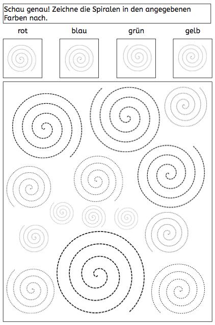 Spiralen, Arbeitsblatt, Wahrnehmung, Legasthenie, Dyskalkulie ...