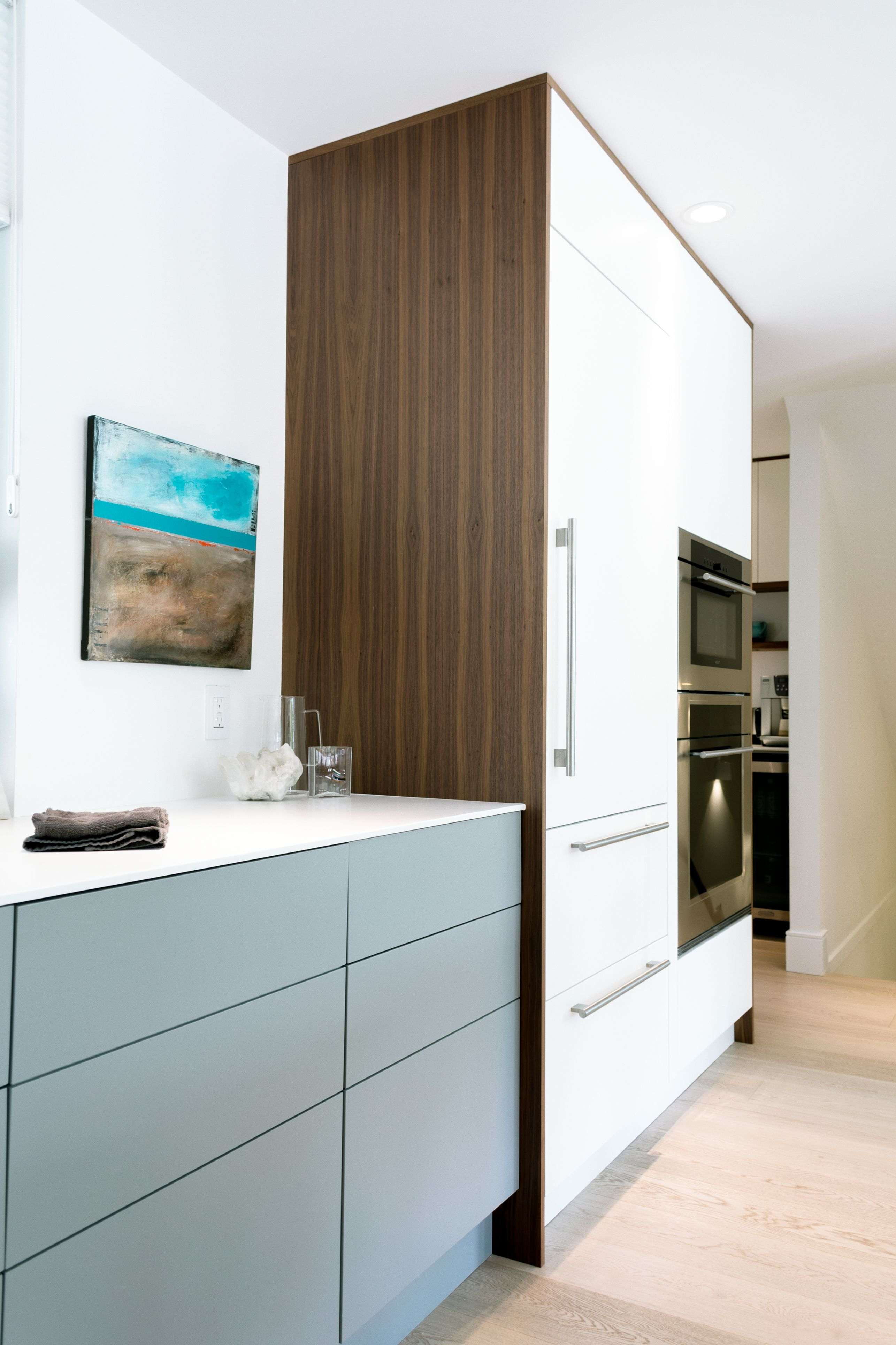 Wilson Kitchen - Black walnut and painted alpha doors. Modern style kitchen with wood slab & Wilson Kitchen - Black walnut and painted alpha doors. Modern style ...