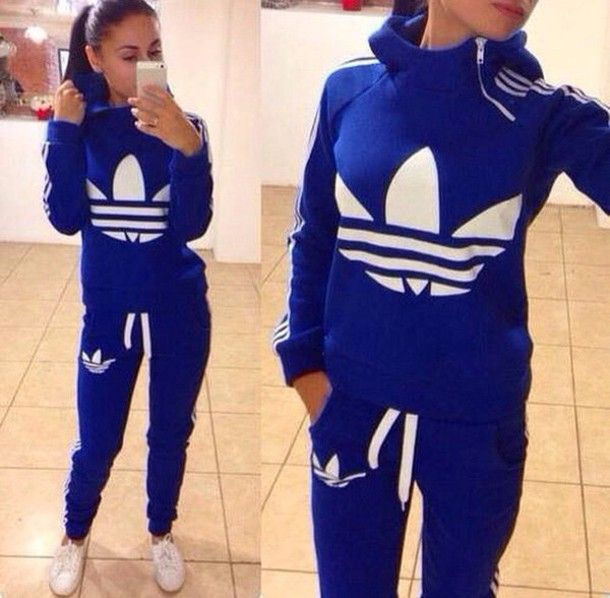 jumpsuit adidas adidasset two-piece sweatpants sweater blouse Pinterest: CaramelCurly