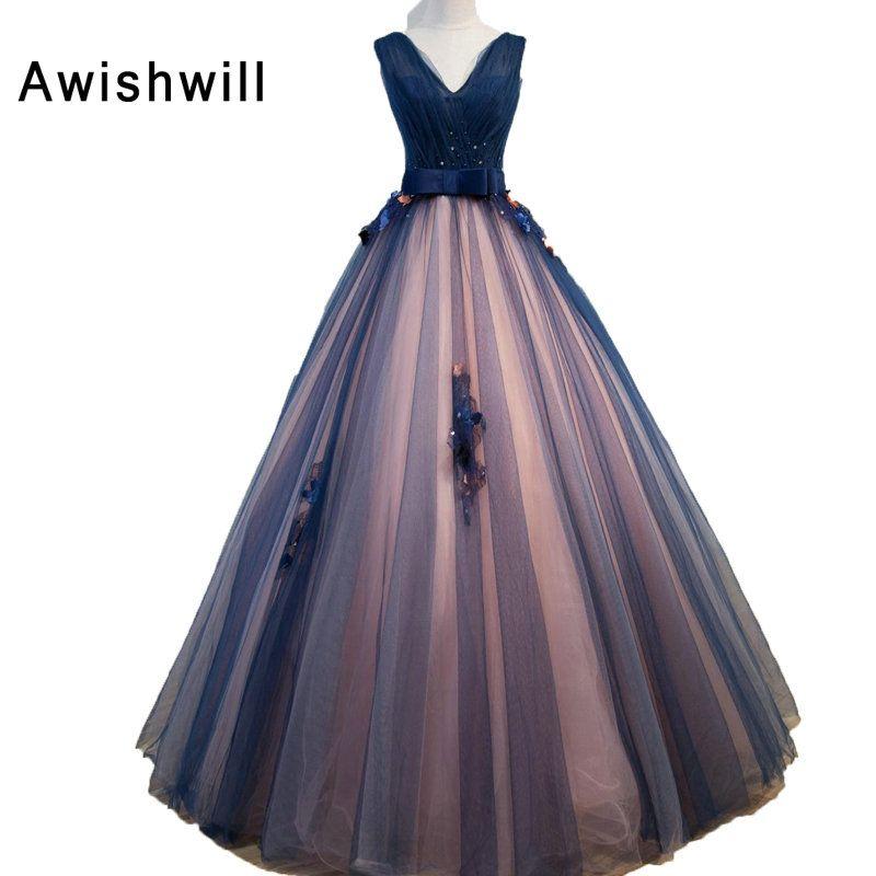 Fairy princess prom dresses long v neck lace up back tulle