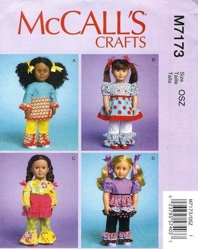 Sewing pattern~mak boutique style doll clothes~fit american girl ...