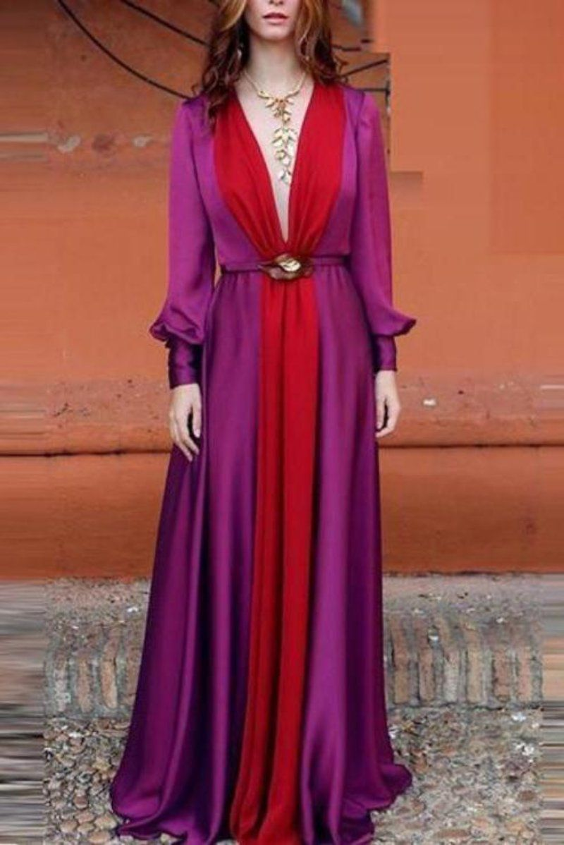 Long Sleeved Deep V Color Matching Maxi Dress #summervacationstyle