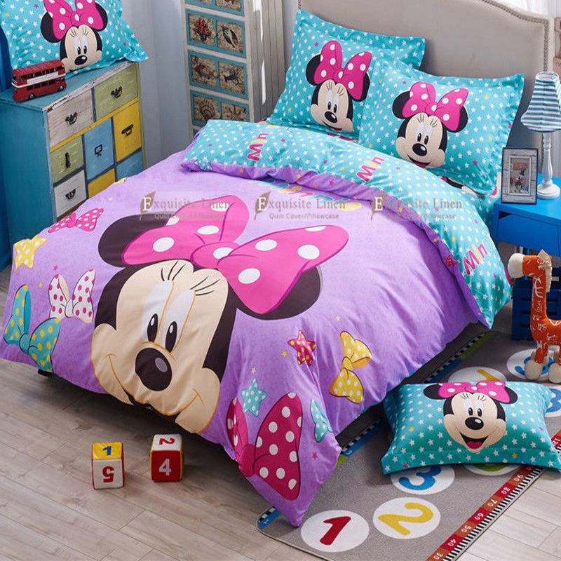 Mickey Minnie Mouse Bedding Comforter Set In 2020 Minnie Mouse Bedding Minnie Mouse Bedroom Comforter Sets