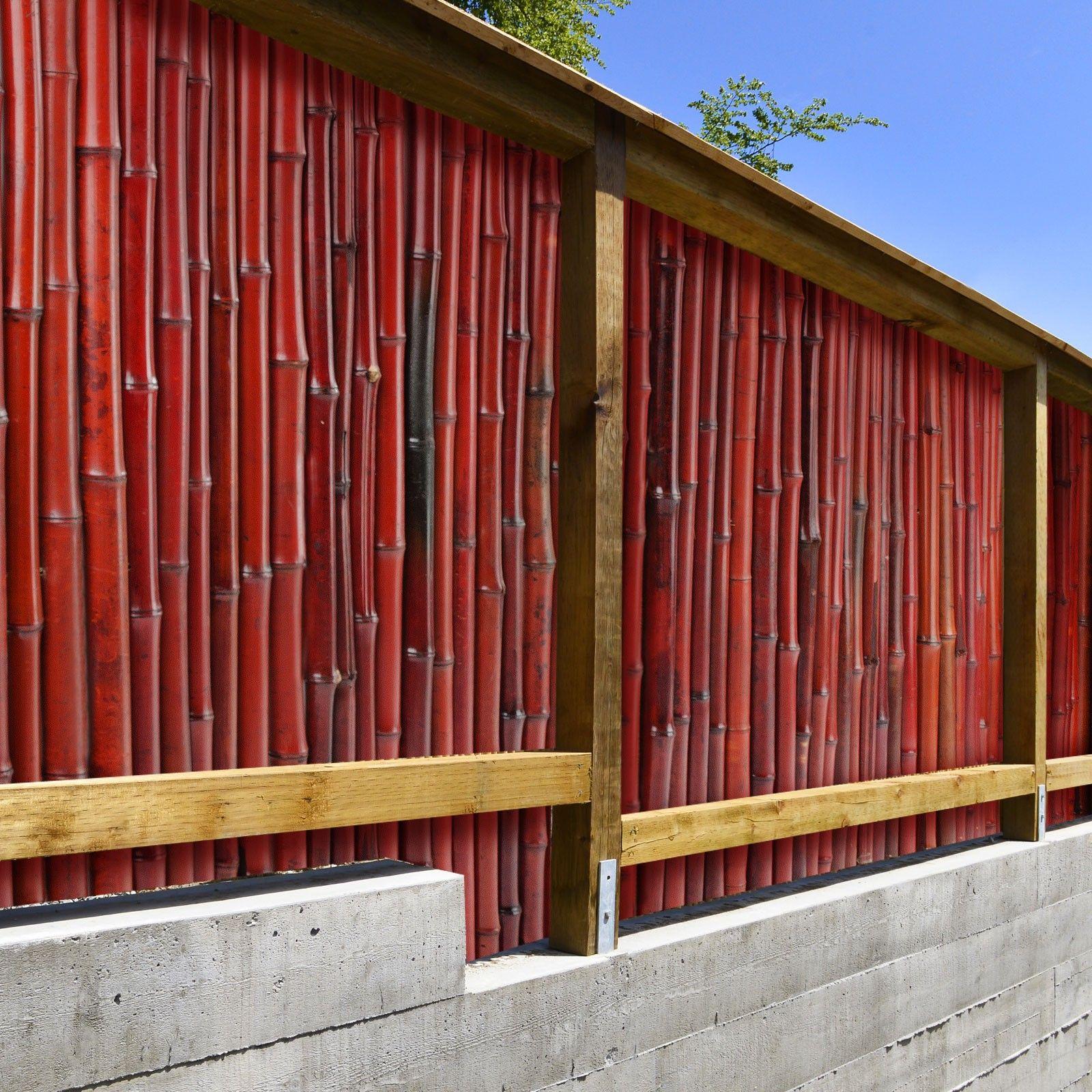 Bambus Sichtschutzzaun Rot 3 Größen volle