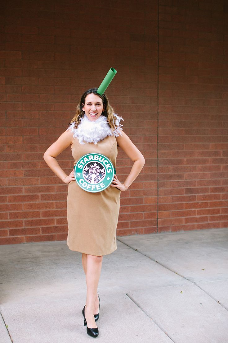 e1e20896104b4 Starbucks Halloween costume using a white boa for whip cream and a tan dress  for coffee #DIY #frappuccino #coffee #obsessed