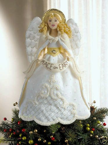 Bucilla Angel Tree Topper White Felt Christmas Kit Rare Factory Direct Oop Angel Tree Topper Angel Tree Tree Toppers