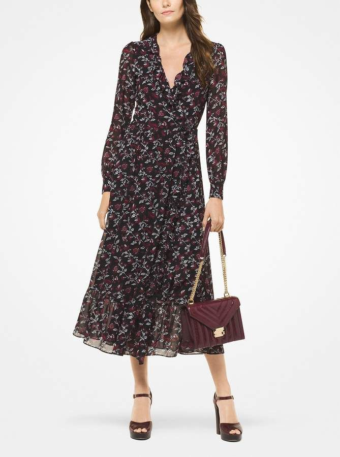 Michael Michael Kors Botanical Georgette Wrap Dress In 2019