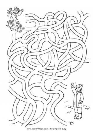 Sledding Fun Maze Mazes For Kids Winter Activities For Kids Christmas Math Worksheets
