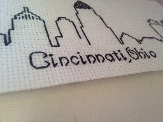 Cincinnati Ohio Skyline Embroidery By Parchmentpetaldesign On Etsy