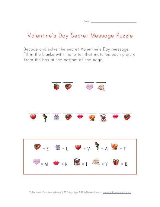 valentine s day secret message worksheet sewdarncute. Black Bedroom Furniture Sets. Home Design Ideas
