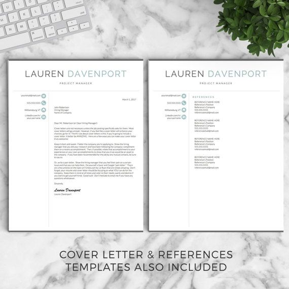 Professional and Modern Resume Template for Word  Pages The Lauren