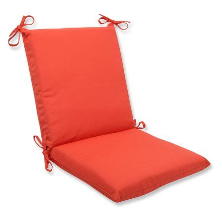 Pillow Perfect Outdoor/ Indoor Squared Corners Chair Cushion with Orange Sunbrella Fabric
