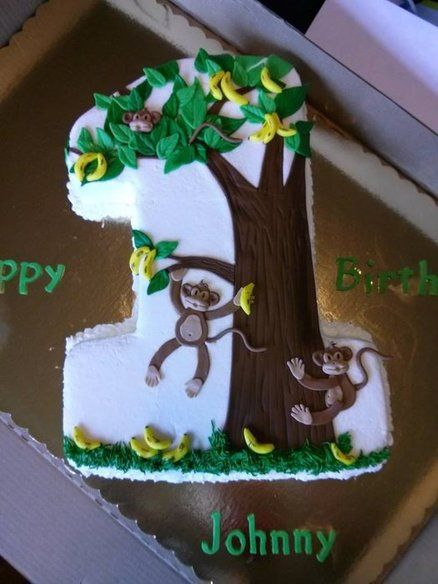 1st Birthday Monkey Themed Cake Animals Insects Birthday Party