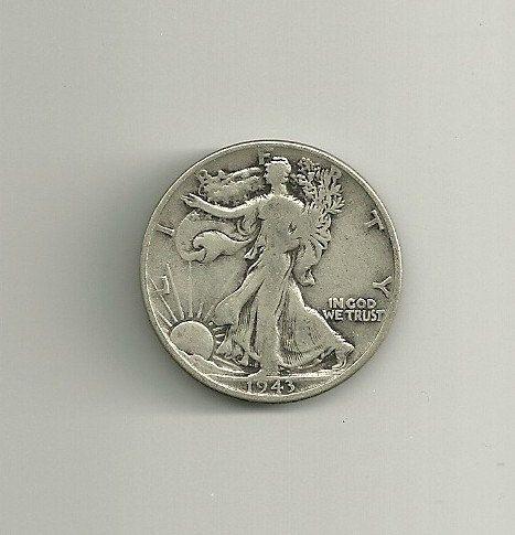 Beautiful 1943 Walking Liberty Silver Half Dollar 90/% Silver Coin Free Shipping!!!!