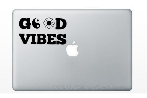 Good Vibes Peace Sign Daisy Quote Black Vinyl Decal Stickers For
