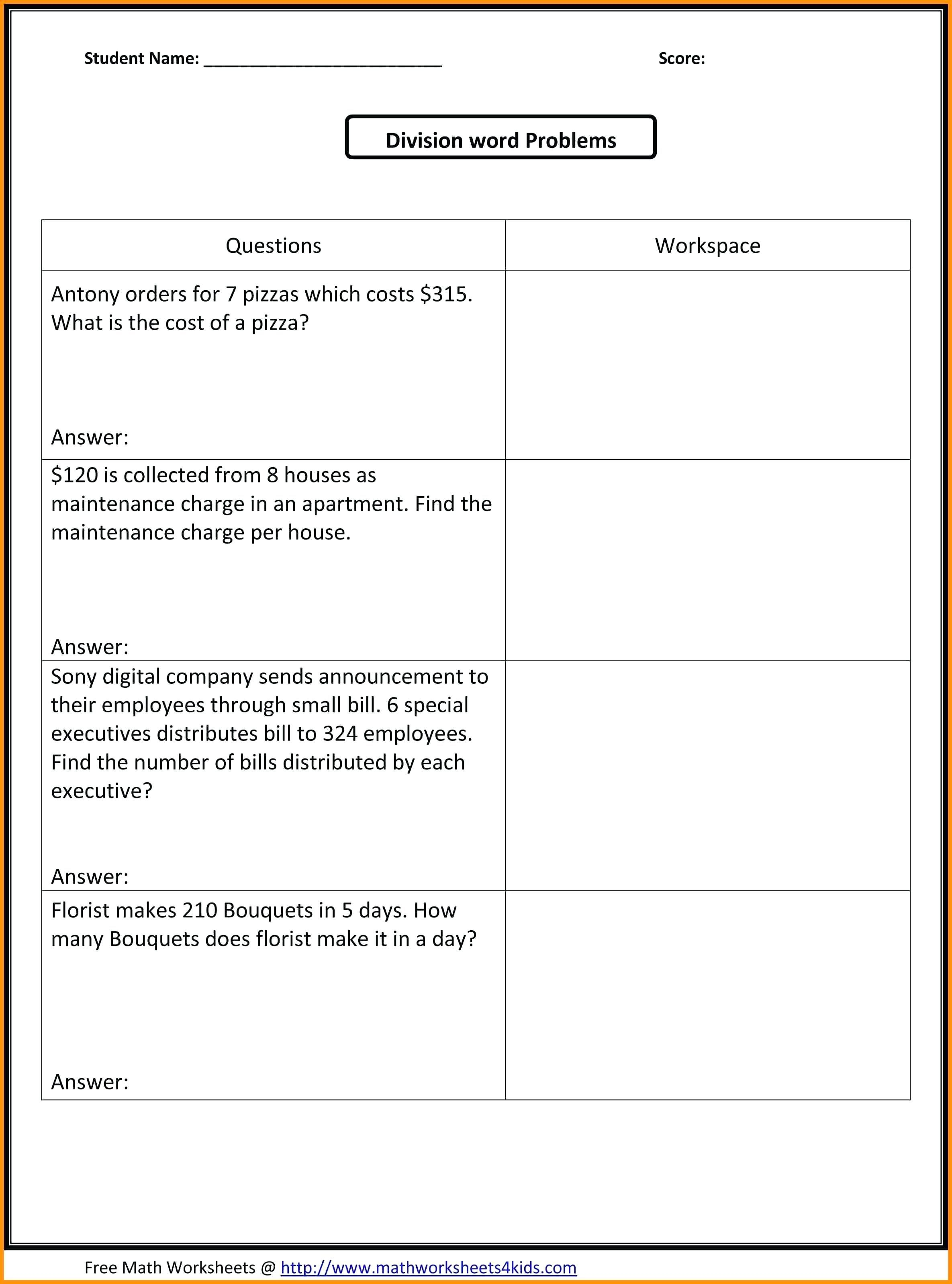 Multiplication Problems 4th Grade For Printable To In