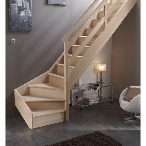 Escalier 1/4 tournant bas droit bois hêtre Soft Wood 13 marches hêtre, l.280 | Escalier quart ...