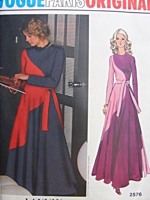 1970s LANVIN Asymmetric Color Block Maxi Dress Pattern VOGUE PARIS ...