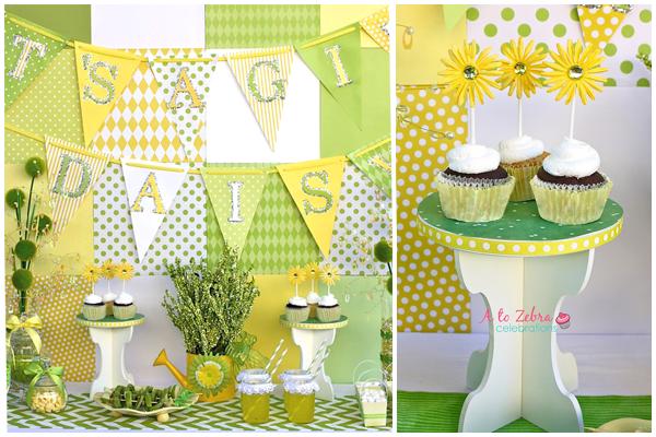 Yellow And Green Baby Shower Daisy Dessert Table Shower Ideas