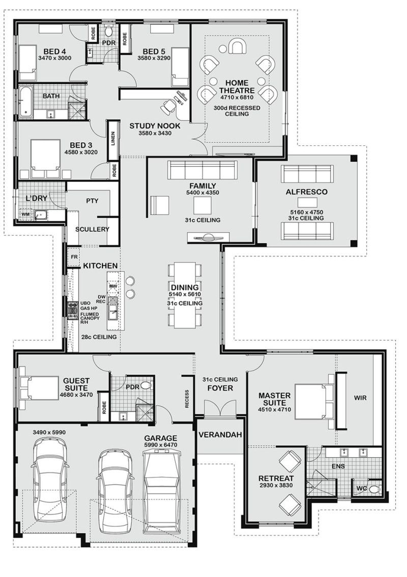Floor plan friday 5 bedroom entertainer floor plans for House plans with large kitchen and family room