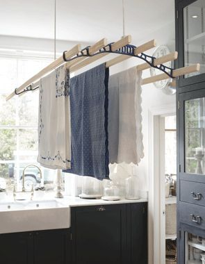 The Pulley Maid Deluxe Ceiling Clothes Airer Drying Rack Hanging In A Traditional Country Kit Laundry Room Organization Hanging Drying Rack Drying Rack Laundry