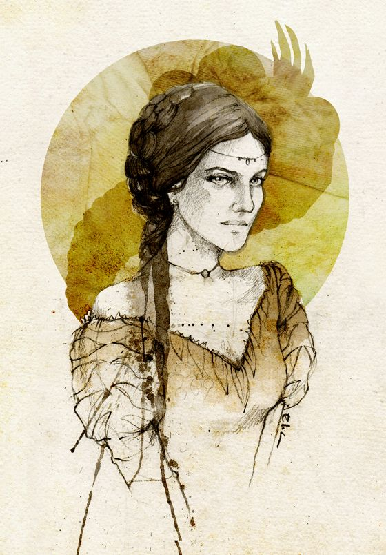 """Taena Merryweather by elia-illustration on deviantART. """"The Myrish woman was too beautiful by half; long-legged and full-breasted, with smooth olive skin, ripe lips, huge dark eyes, and thick black hair that always looked as if she'd just come from bed. She even smells of sin, like some exotic lotus."""""""