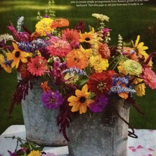 Outdoor November Wedding Flowers: Outdoor Wedding Flowers In Tin Buckets For Centerpiece Or