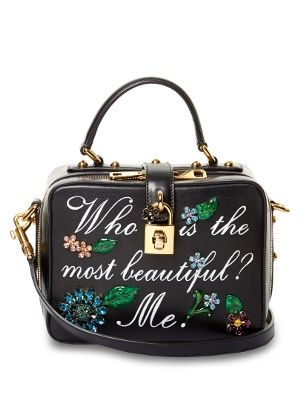 Part of Dolce   Gabbana s fairy-tale inspired AW16 collection, this black  smooth-leather Dolce Soft bag is emblazoned with  Who is the most  beautiful  Me. ff43d0fe0c