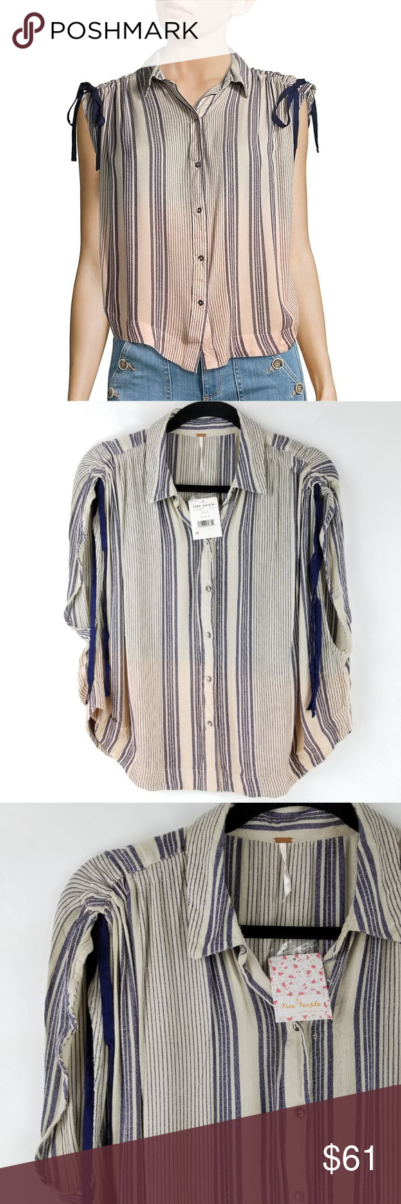 New Free People Women/'s Size Medium Blue Striped Button Down Shirt