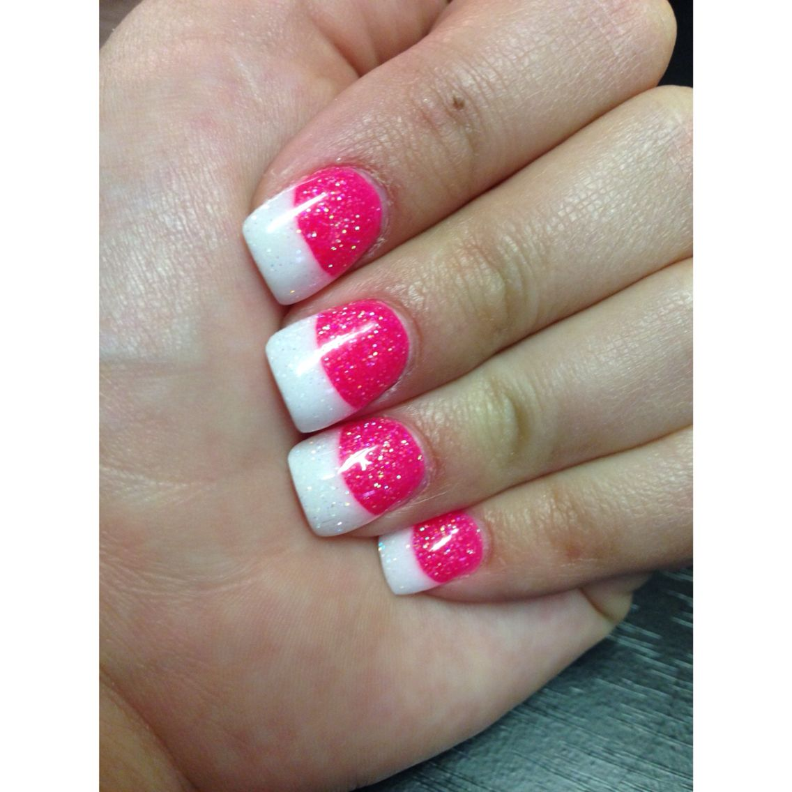 Solar nails #nails #solarnails #solarpowder #pinkandwhite #glitter ...
