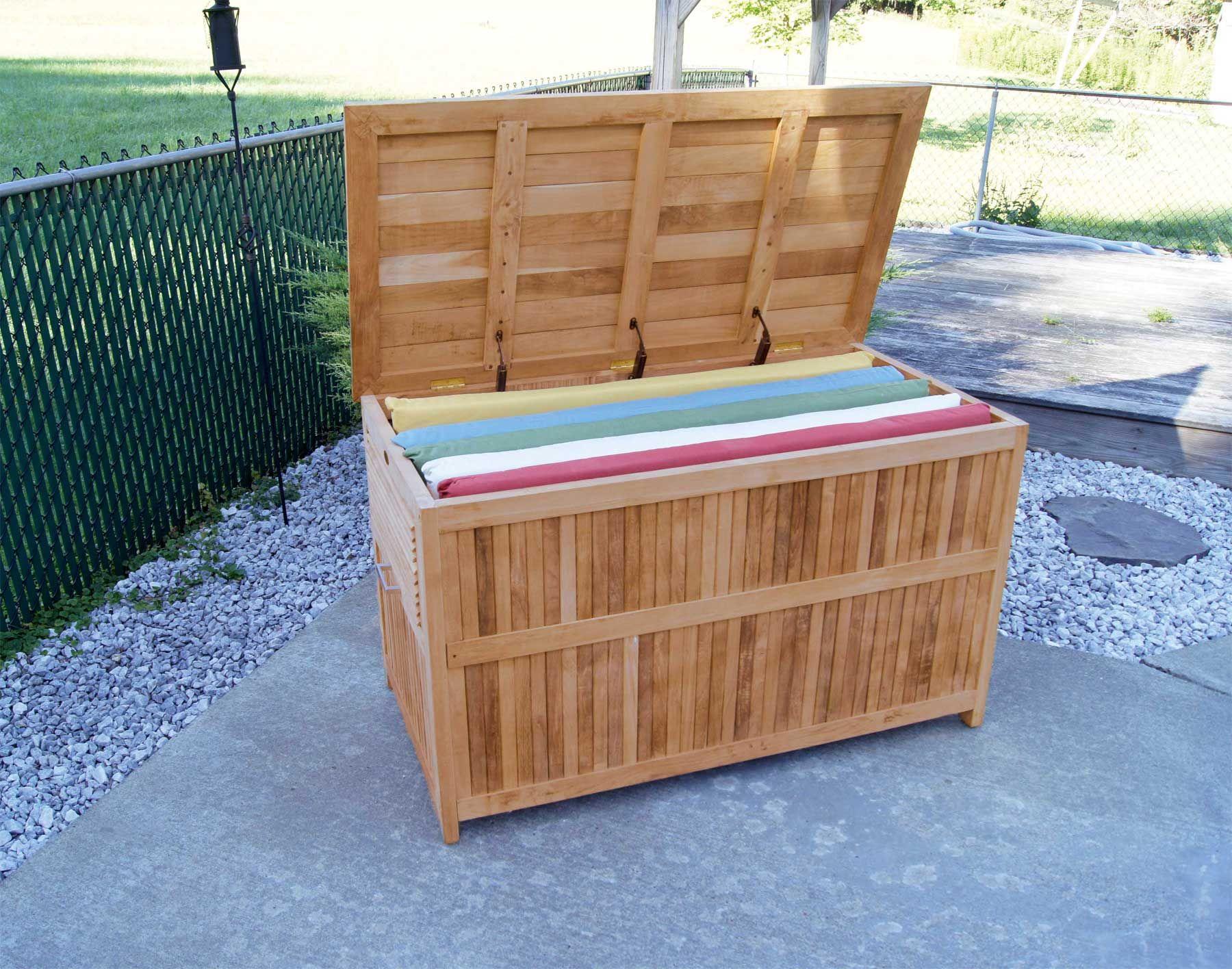 Teak Outdoor Patio Deck Storage Box for Outdoor Furniture Cushions & Teak Outdoor Patio Deck Storage Box for Outdoor Furniture Cushions ...