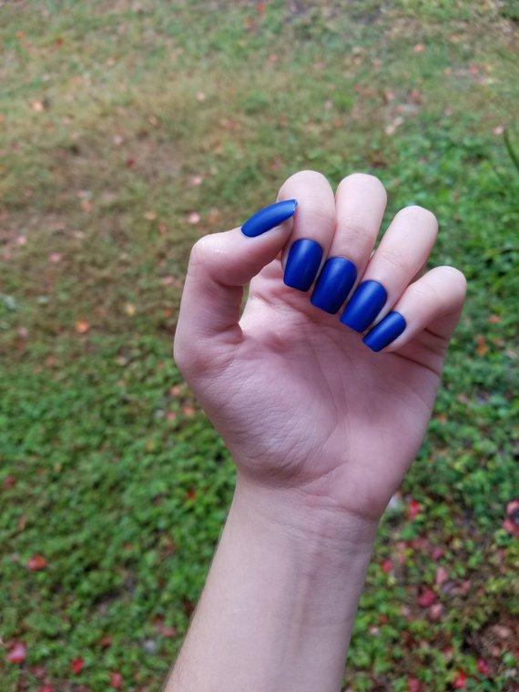 True Blue Nails - Set of 20 - blue nails, fake nails, false nails, press ons, glue ons, falsies, sho
