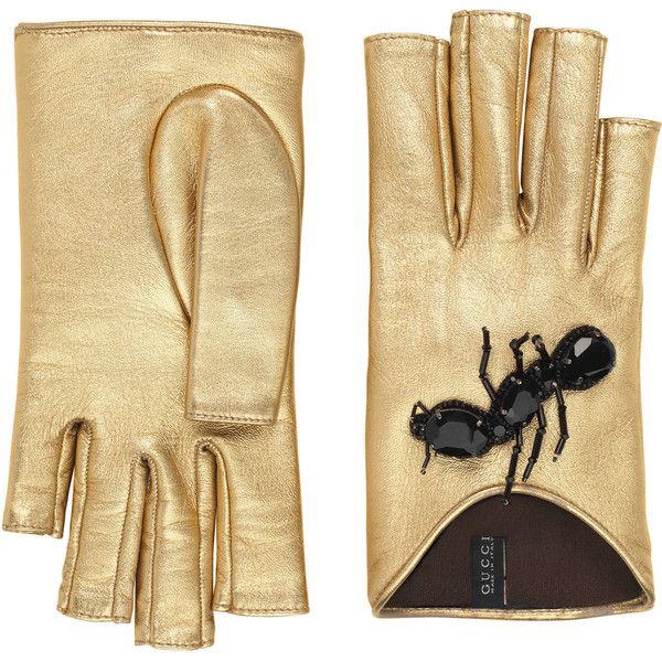 1af63d4da53 Gucci Embroidered Metallic Leather Gloves ( 660) ❤ liked on Polyvore  featuring accessories