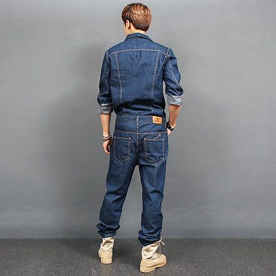 e56fd7f54036 Mens Fashion Overall One Piece Blue Denim Jumpsuit 8812