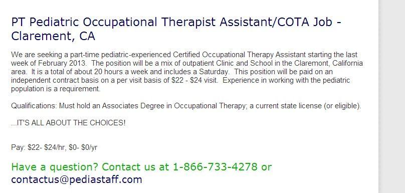 Hot Job through PediaStaff! - PT Pediatric Occupational Therapist