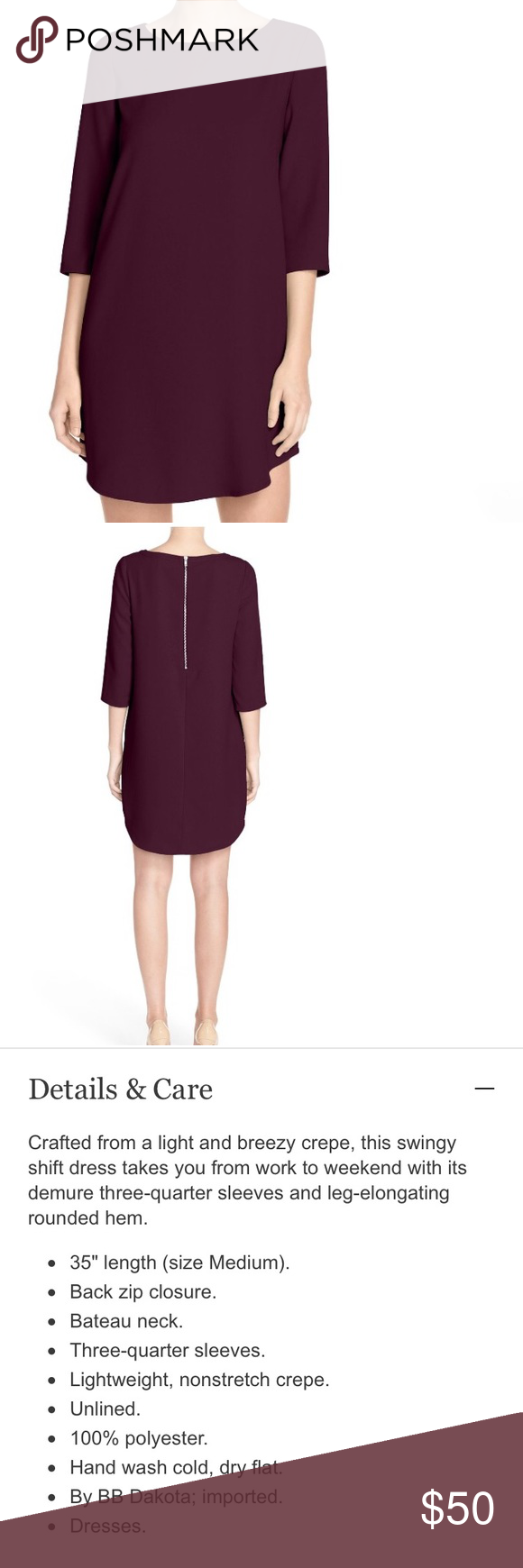 BB Dakota Jazlyn Shift dress Purple - plum colored shift dress. 3/4 sleeves and exposed back zipper. BB Dakota Dresses