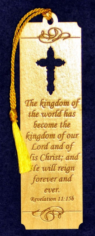 Wood Scripture Bookmark Revelation 1115b wih Leaf Cross