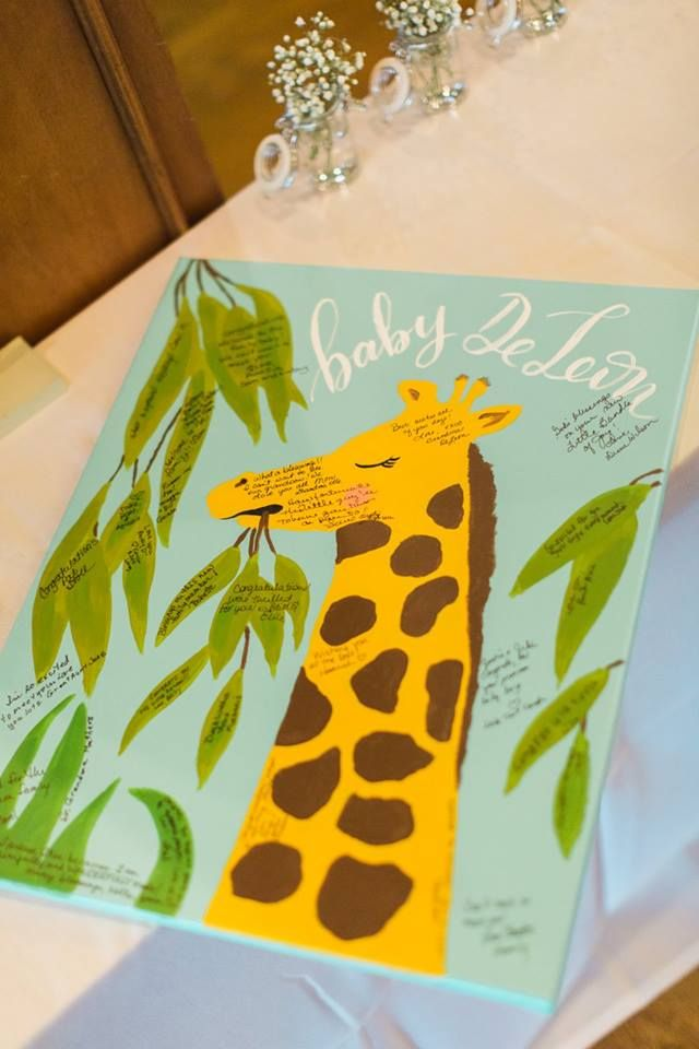 The cutest giraffe guest book made by Avo Ink