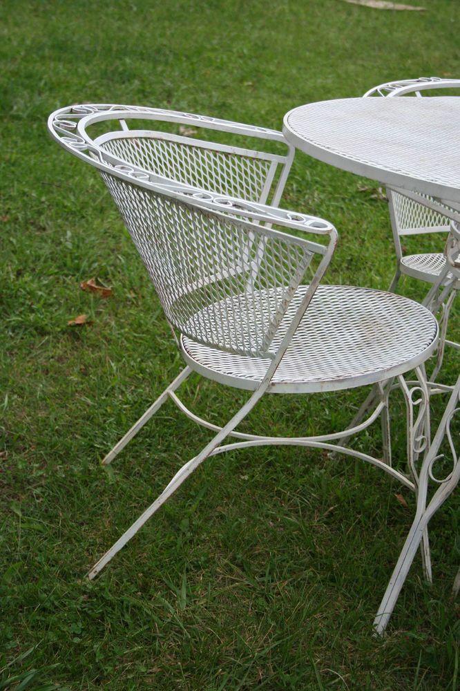 Salterini Patio Set 1950s ESTATE FIND Round Table 4 Chairs Iron MCM PICKUP  STLMO #salterini