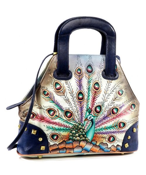 Take A Look At This Magnifique Bags Blue Green Pea Hand Painted Leather Satchel On Zulily Today